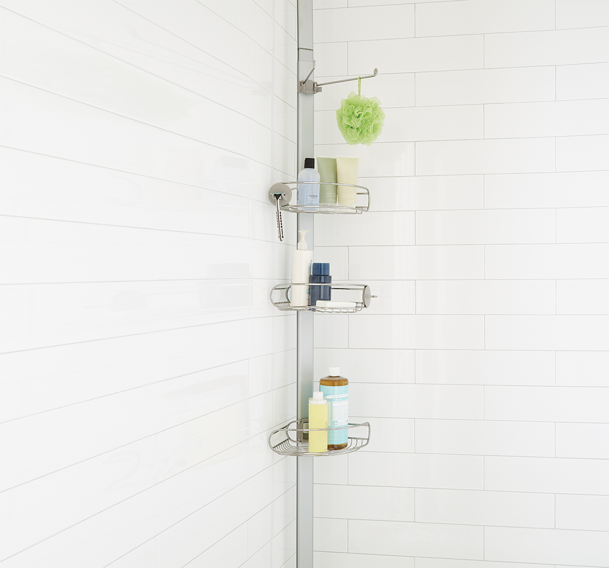 Tension Pole Shower Caddy - simplehuman Stainless Steel Tension Pole ...
