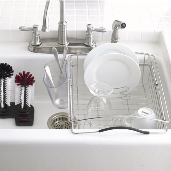 Polder Stainless Steel Dual-Purpose Dish Rack ... & Polder Stainless Steel Dual-Purpose Dish Rack | The Container Store