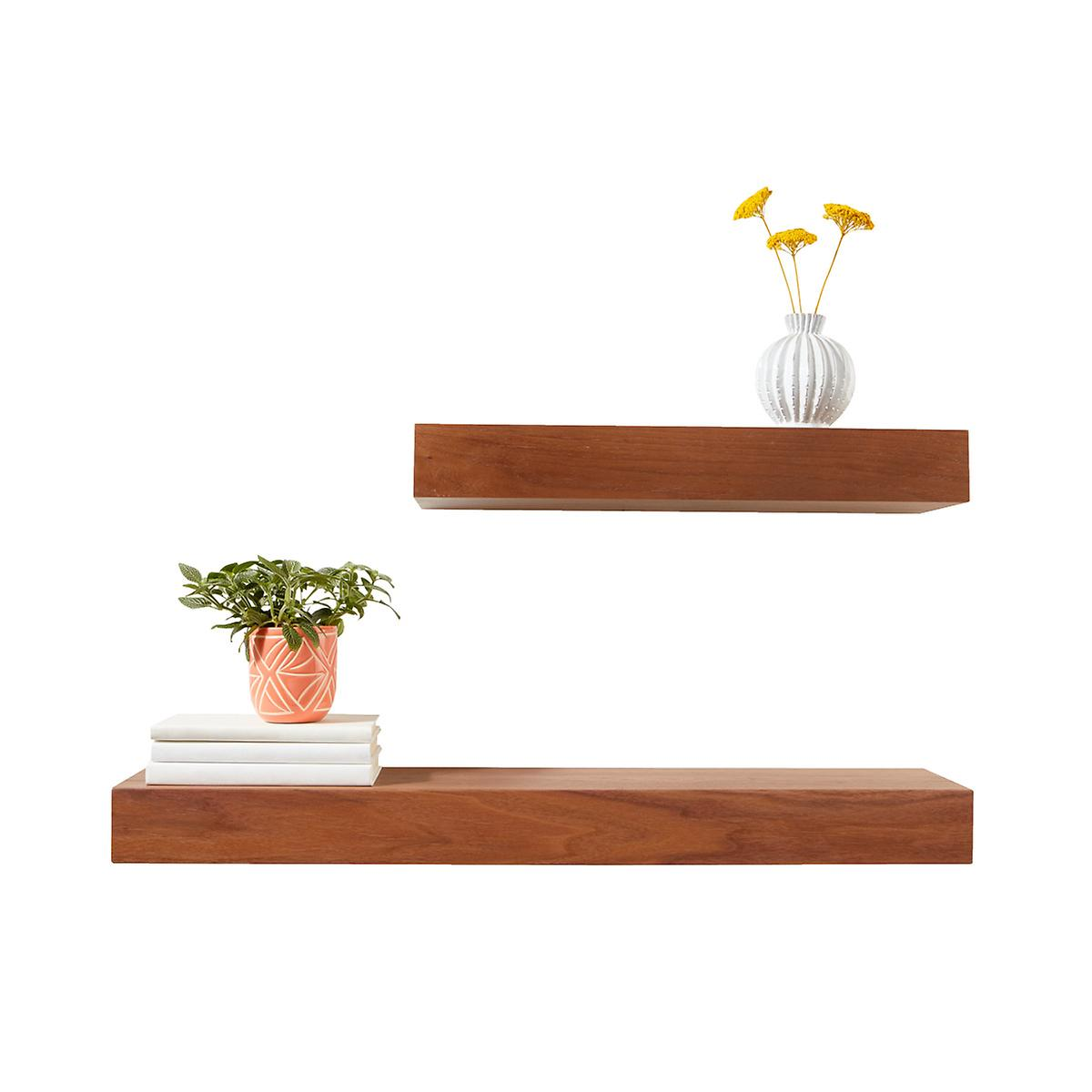 walnut floating shelves the container store. Black Bedroom Furniture Sets. Home Design Ideas