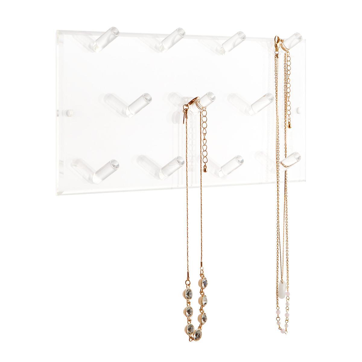 11-Peg Acrylic Necklace Wall Rack