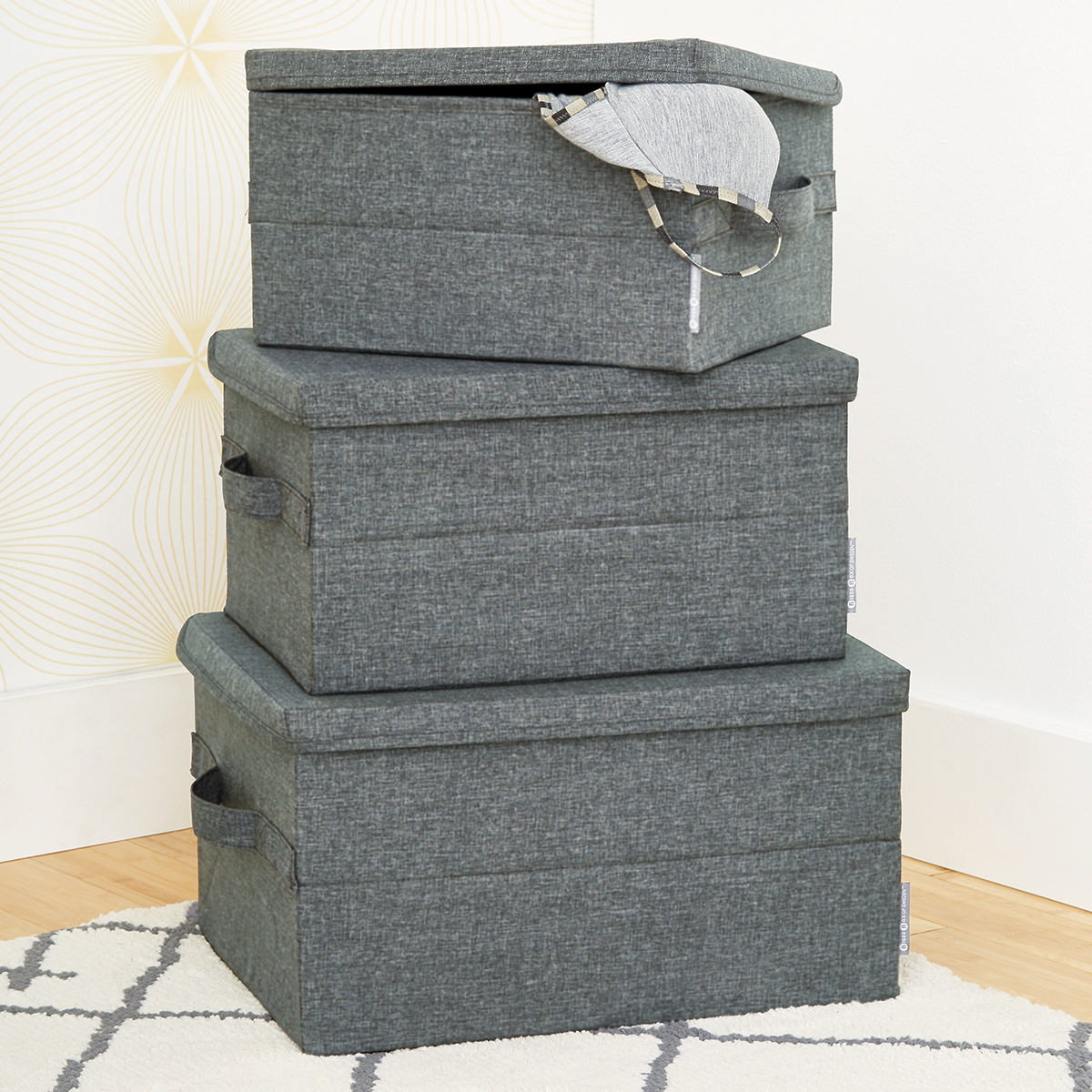 Merveilleux Bigso Grey Soft Storage Boxes With Handles ...
