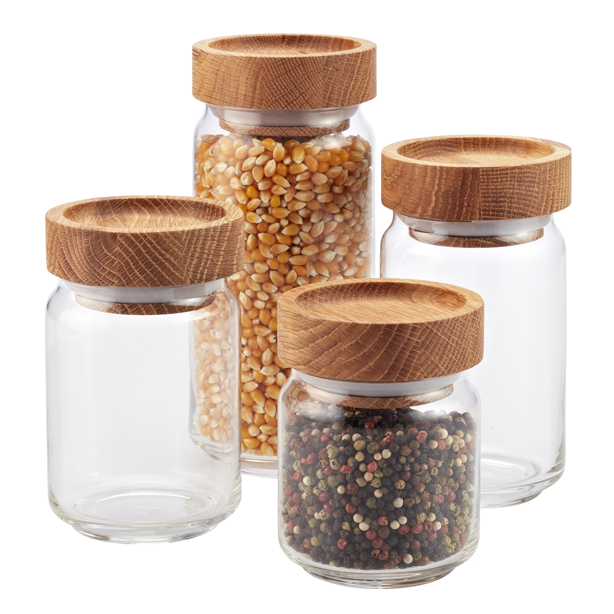 artisan glass canisters with oak lids - Glass Containers With Lids