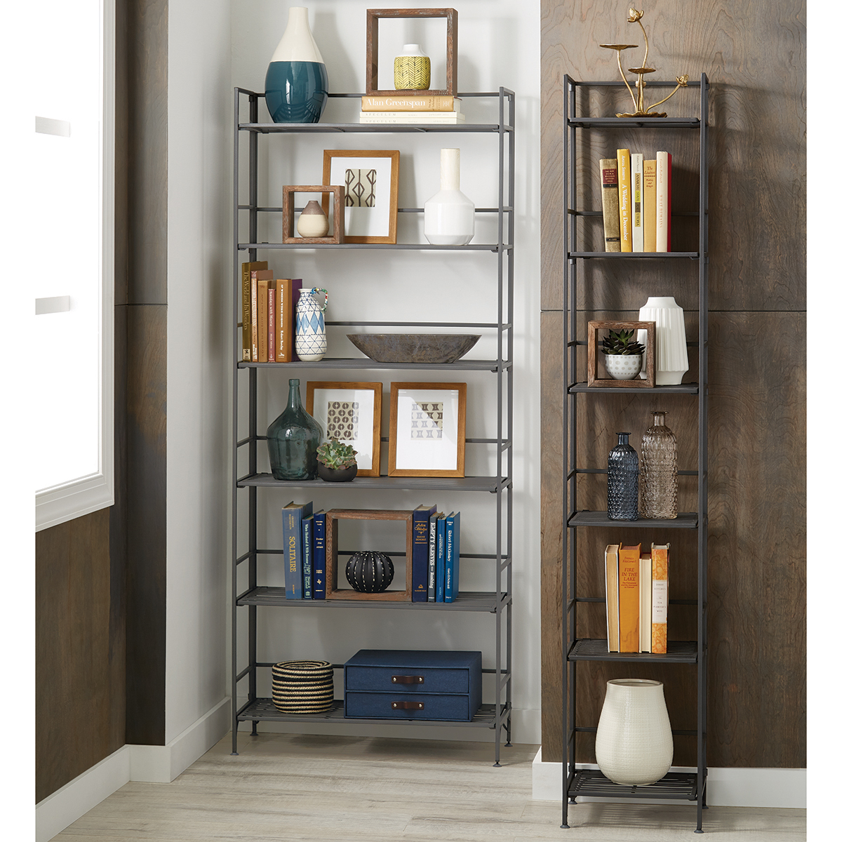 6 Shelf Iron Folding Bookshelf