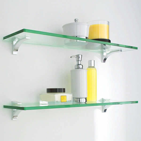 glass shelf clip kits the container store rh containerstore com Shower Glass Shelves Glass Shower Shelf