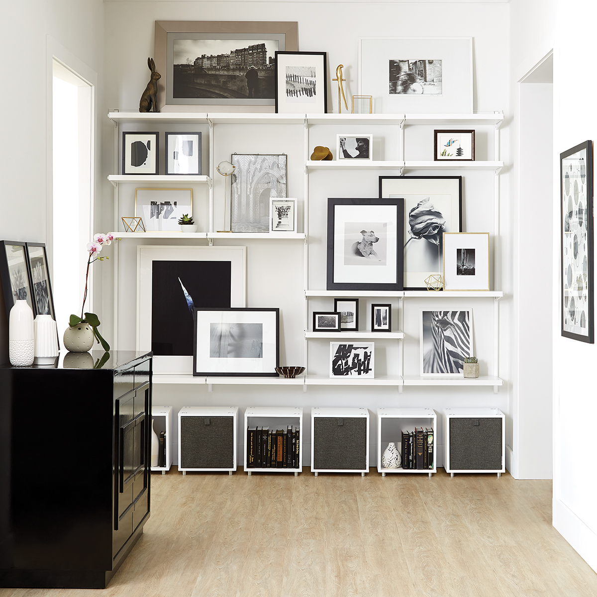White White Elfa Decor Shelving Wall