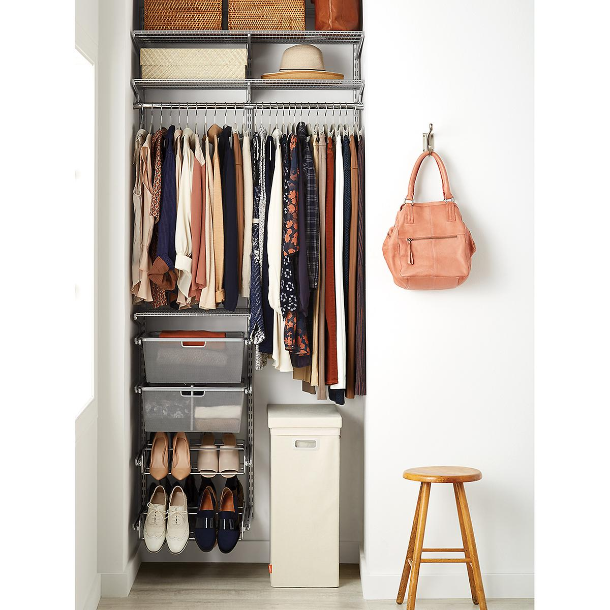 Platinum elfa small space closet the container store - Storage solutions for small closets ...