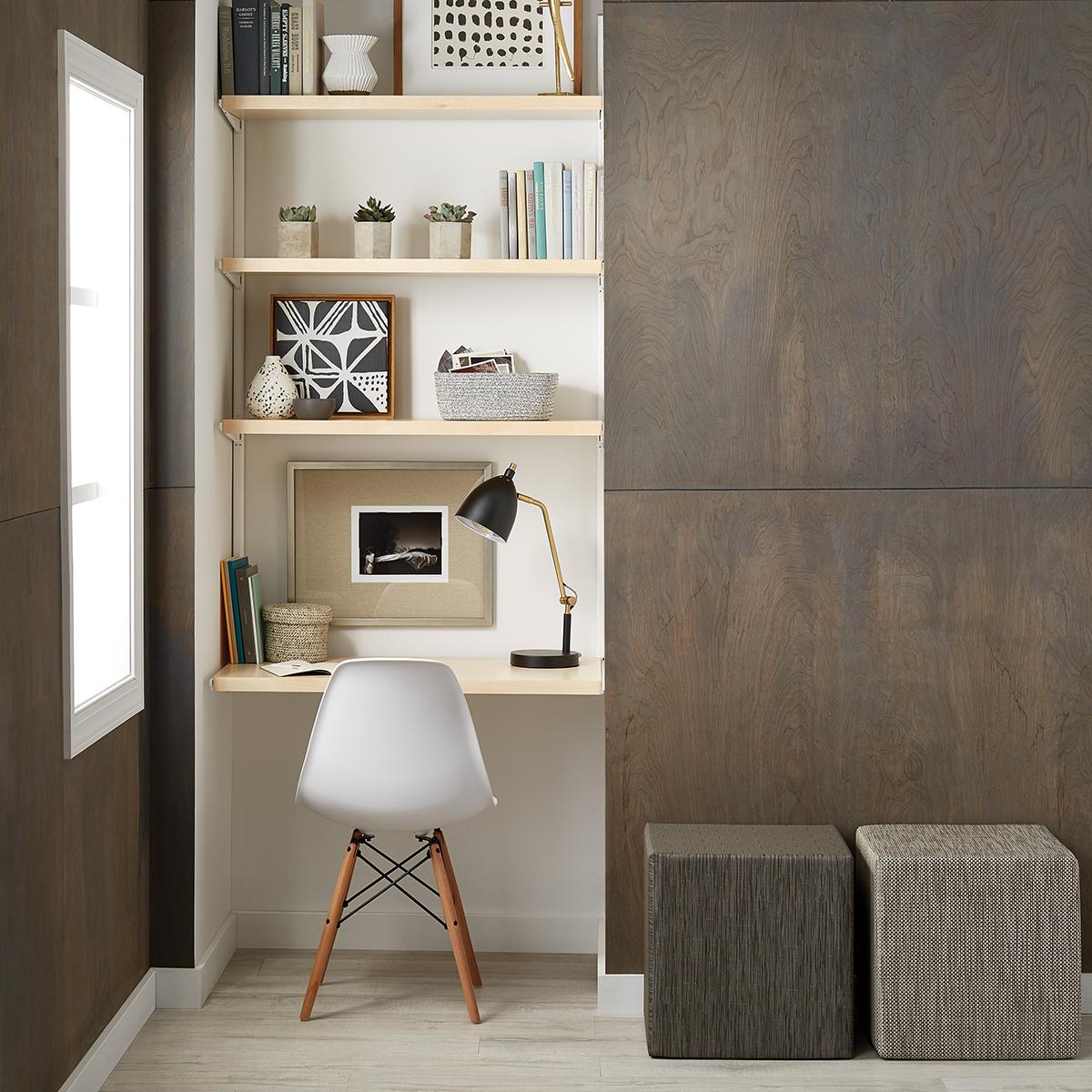 Delightful Birch U0026 White Elfa Décor Office Nook