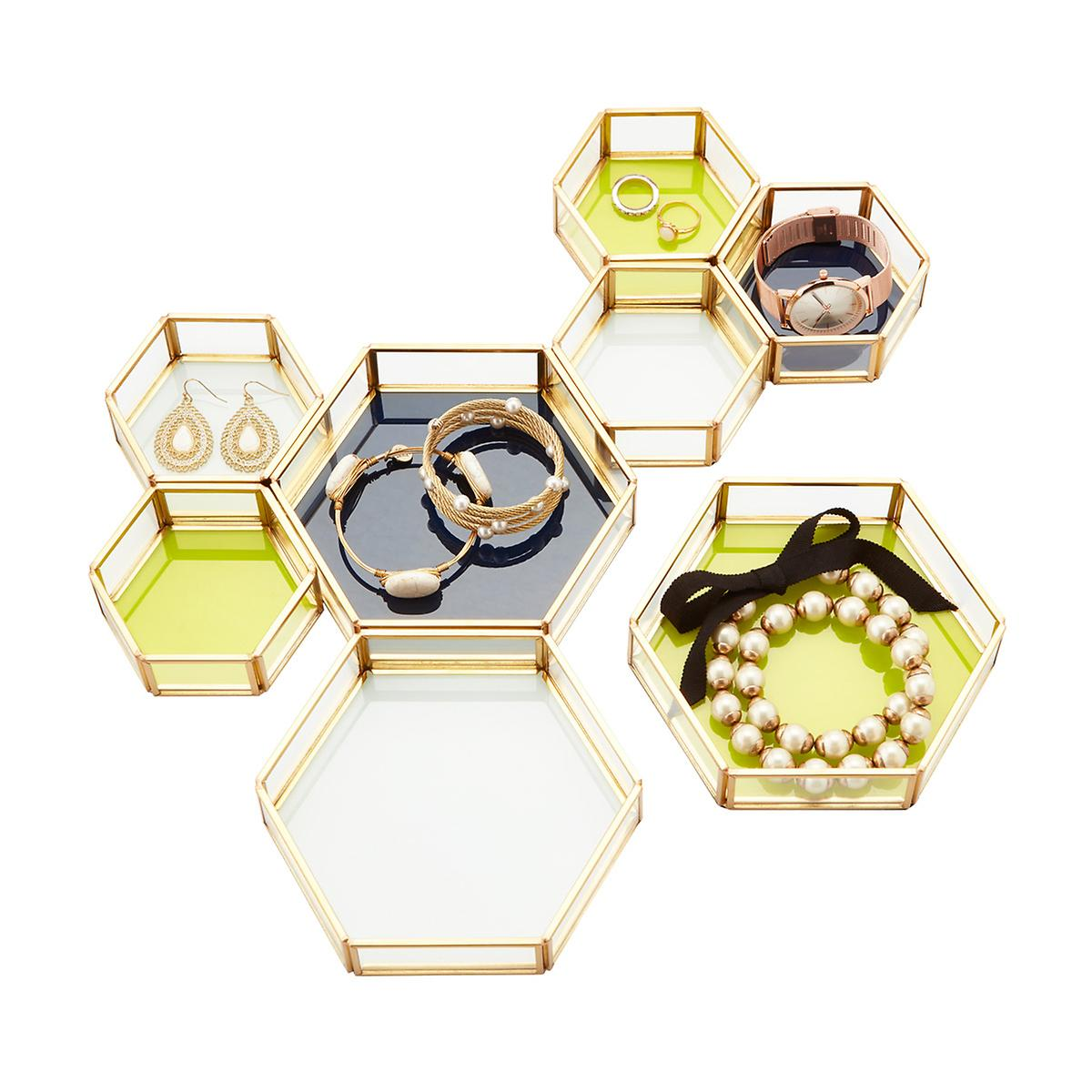 Three By Three Beehive Glass Amp Metal Jewelry Trays The
