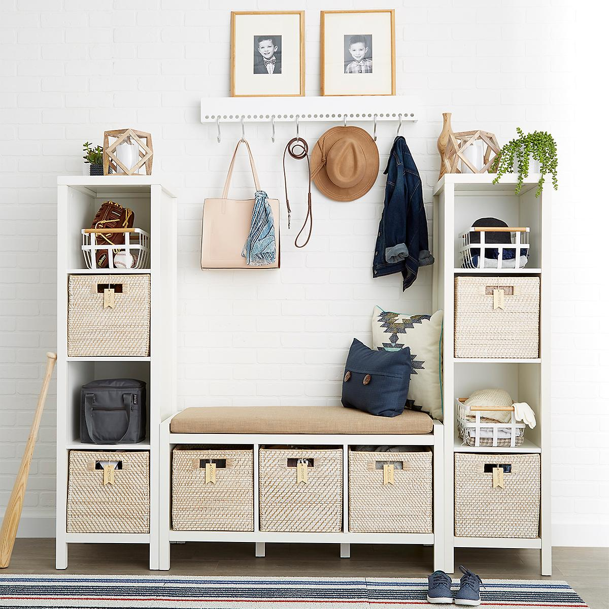Whitewash Rattan Storage Cube with Handles The Container Store
