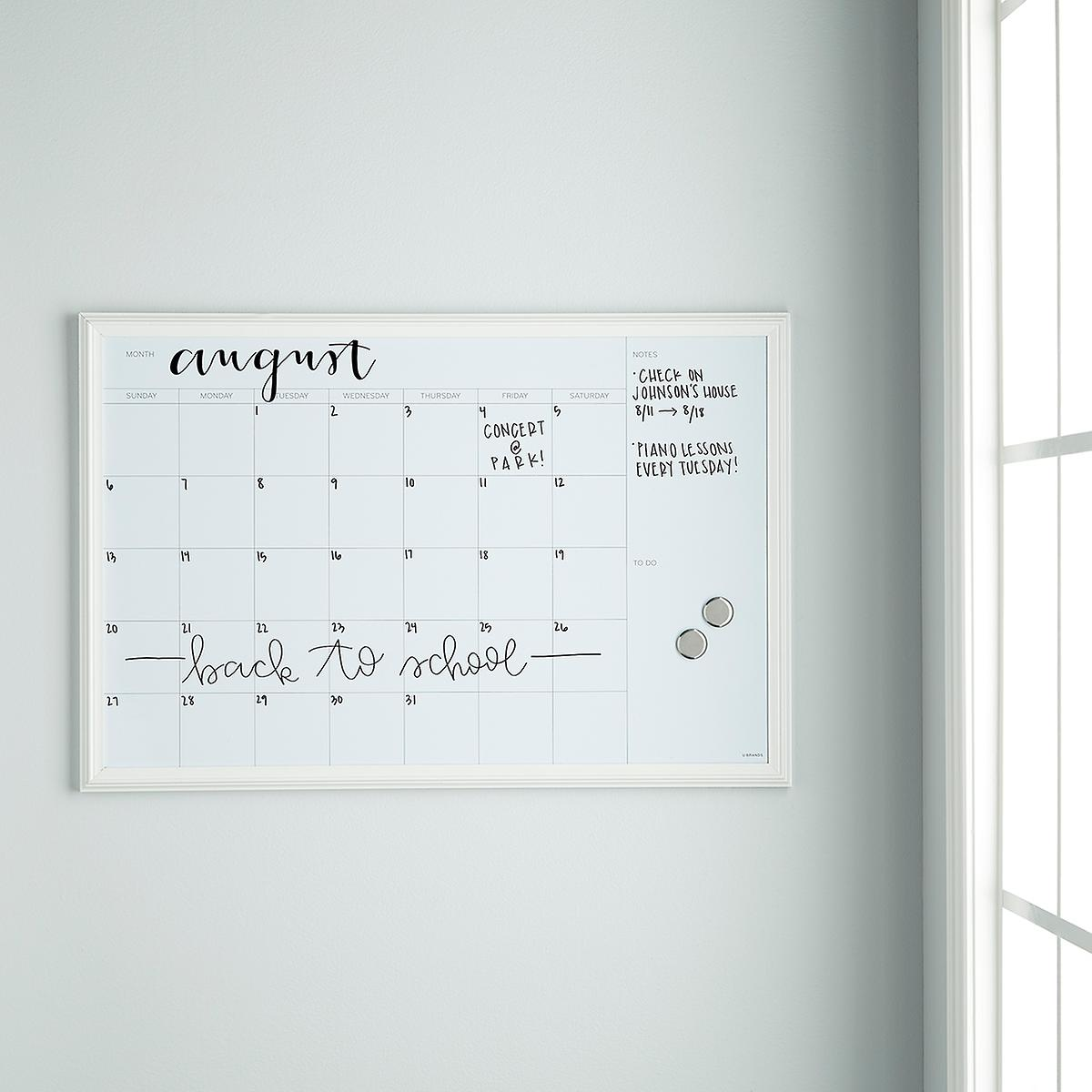 U Brands White Large Farmhouse Monthly Dry Erase Board The