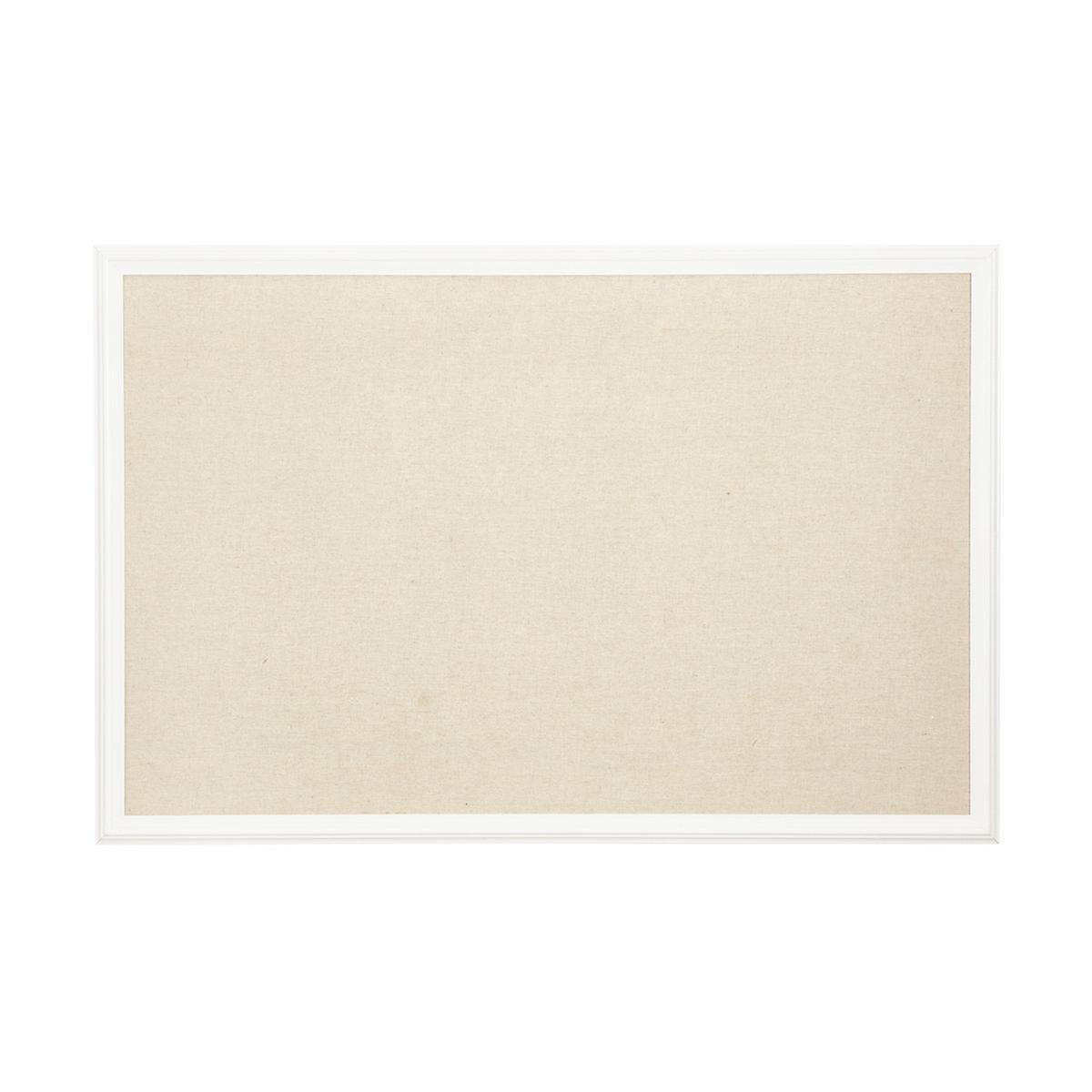 U brands white natural large farmhouse linen bulletin for Linen cork board
