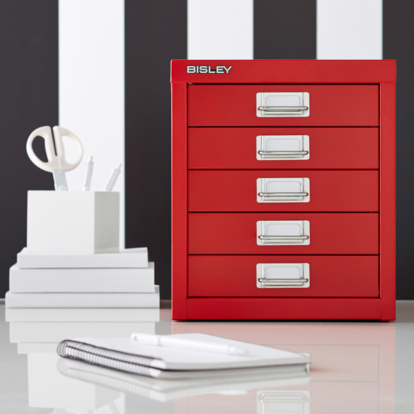 Charmant Red Bisley 5 Drawer Cabinet ...