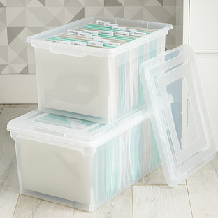 File Tote Clear Stackable File Tote Box The Container Store