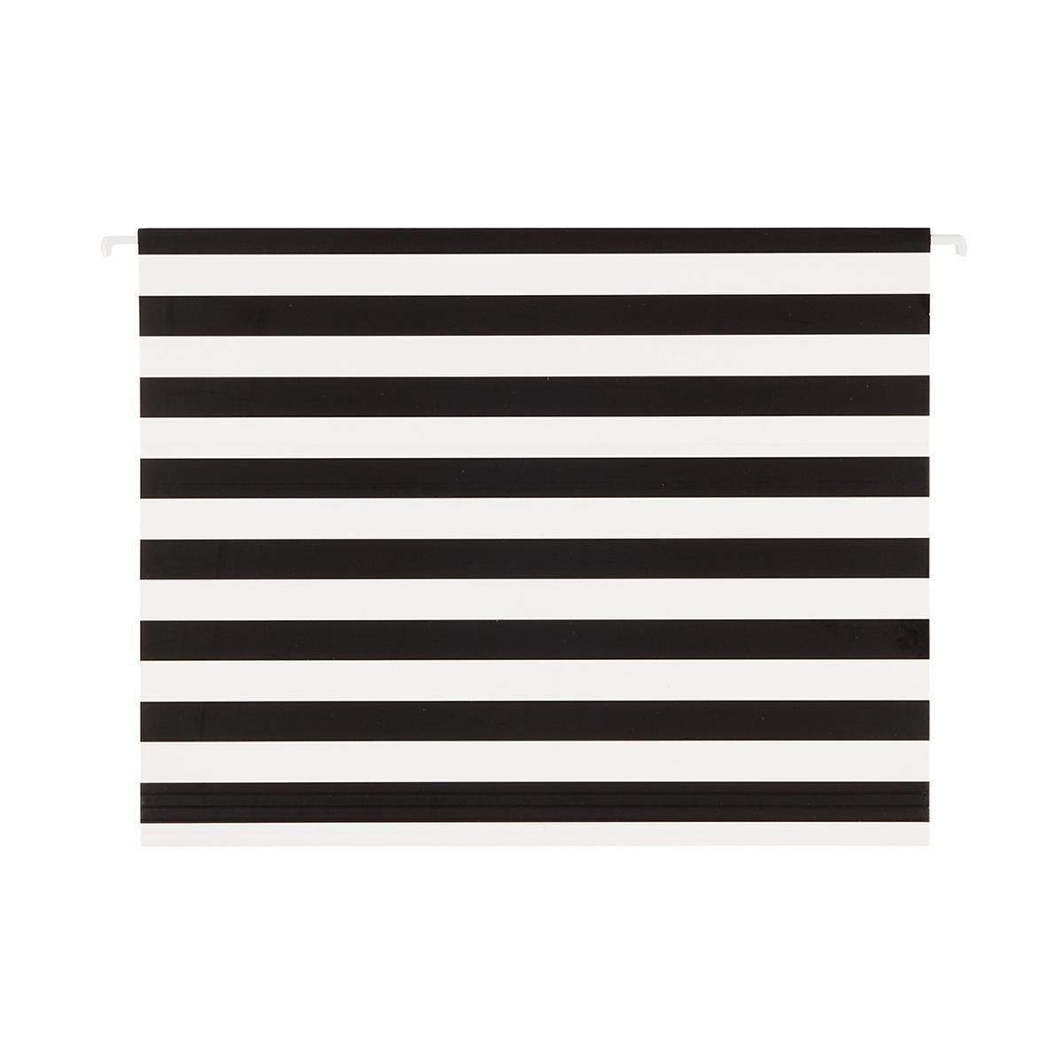Black & White Stripe Letter-Size Hanging File Folders