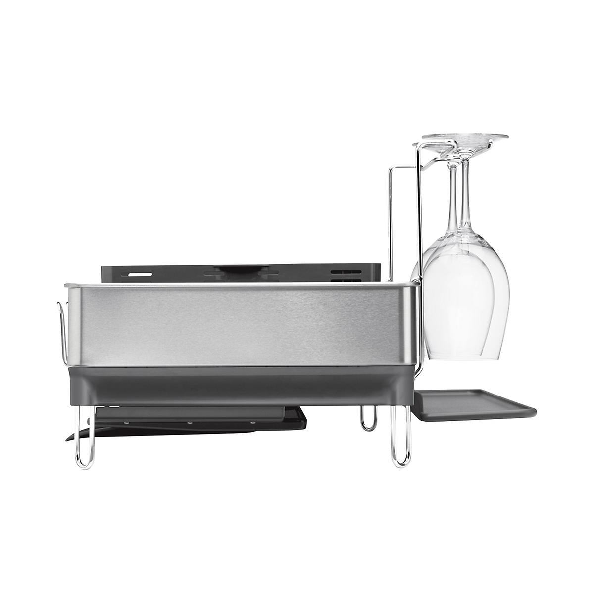 dish rack simplehuman stainless steel frame dish rack the container store. Black Bedroom Furniture Sets. Home Design Ideas