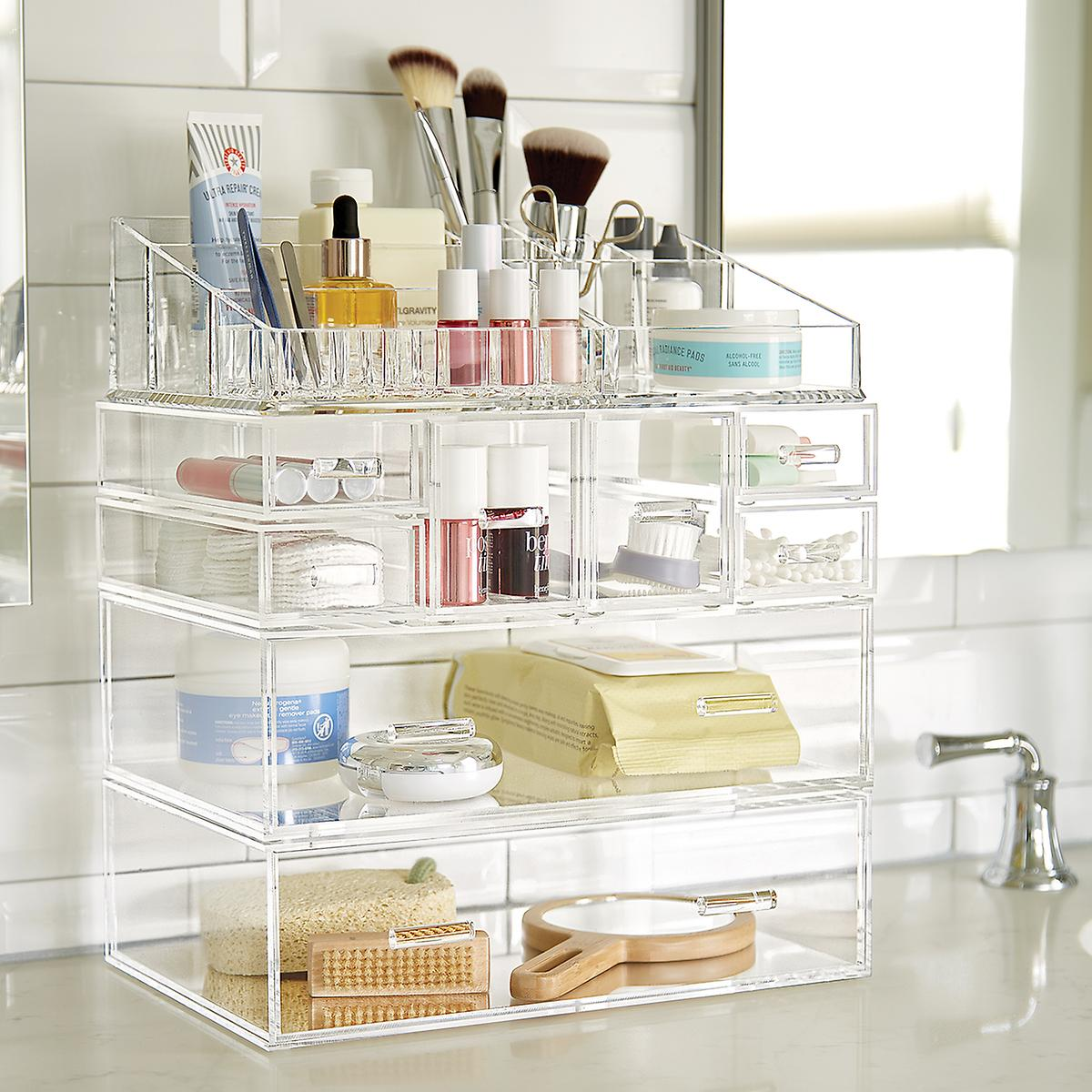 Design Makeup Tray Organizer luxe acrylic modular makeup storage the container store organizer