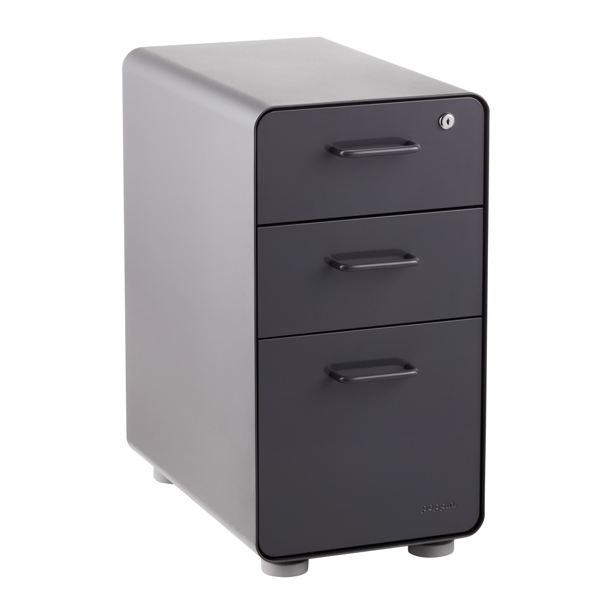 Delicieux Poppin Dark Grey Slim 3 Drawer Stow Filing Cabinet