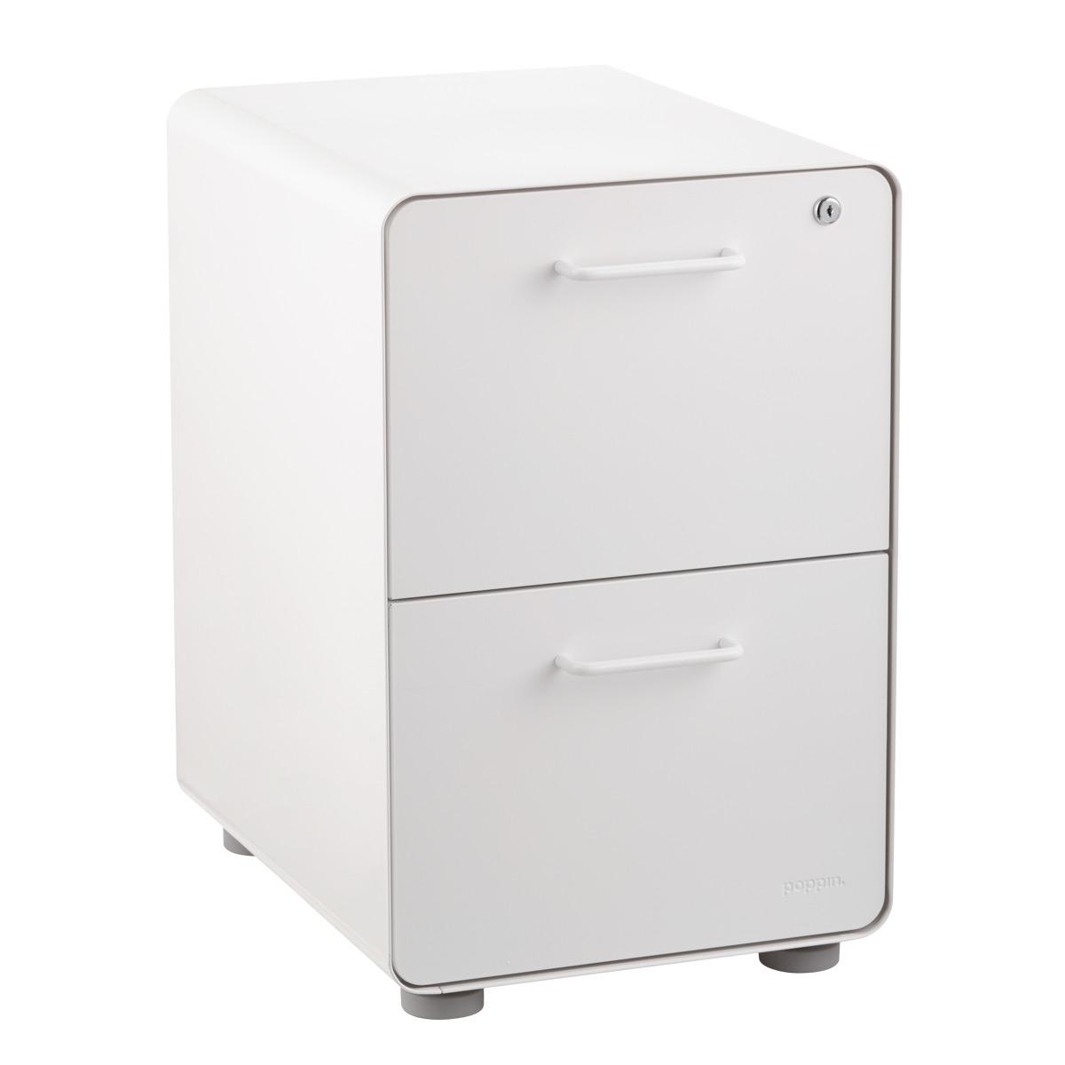 Poppin White 2 Drawer Stow Locking Filing Cabinet