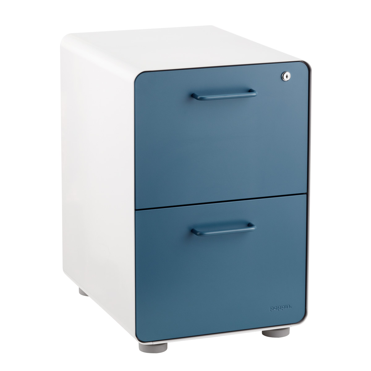 Picture of: Poppin Slate Blue 2 Drawer Stow Locking Filing Cabinet The Container Store