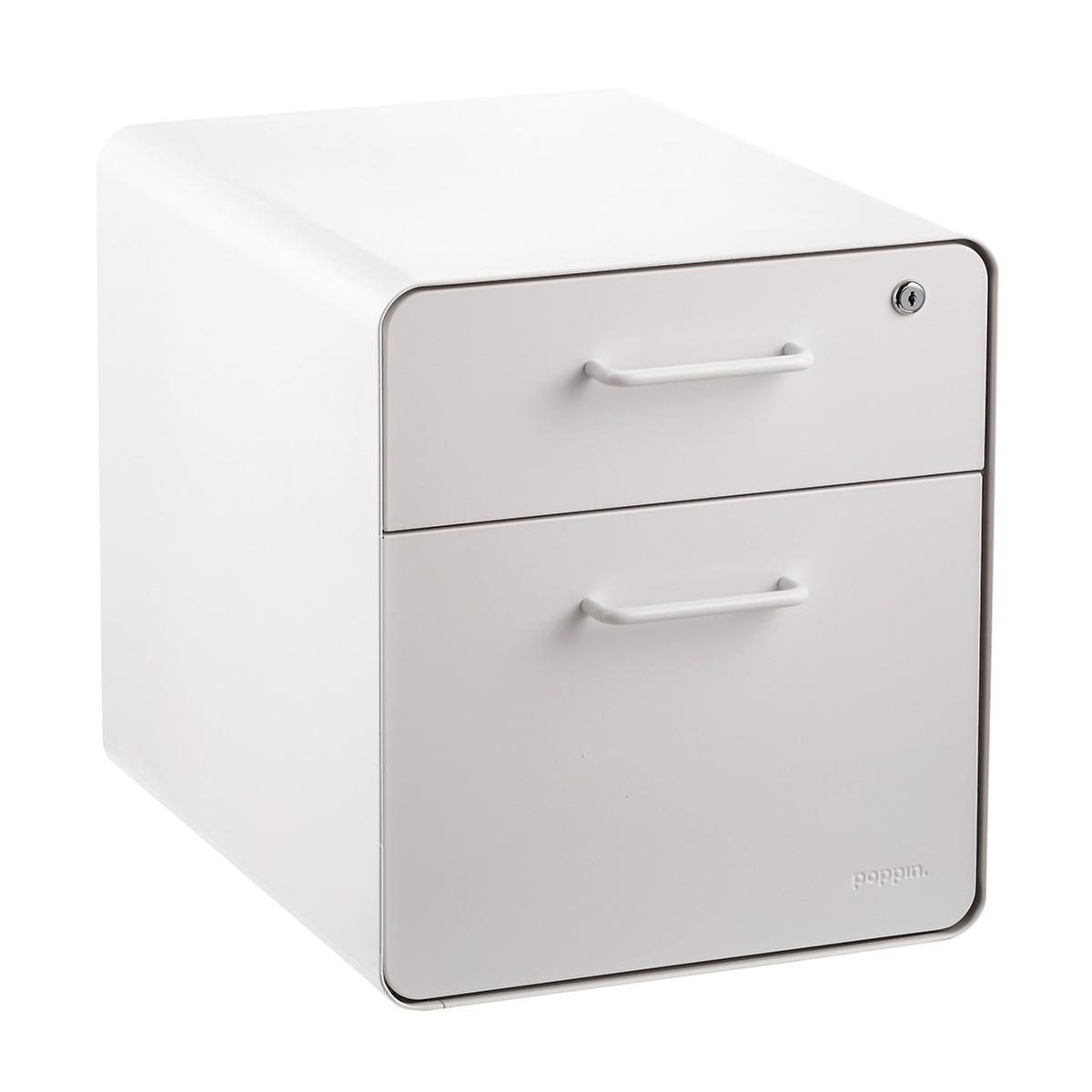 Poppin White 2 Drawer Mini Stow Filing Cabinet With Seat The Container