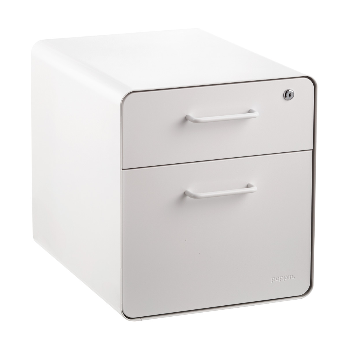 Poppin White 2 Drawer Mini Stow Filing Cabinet With Seat | The Container  Store
