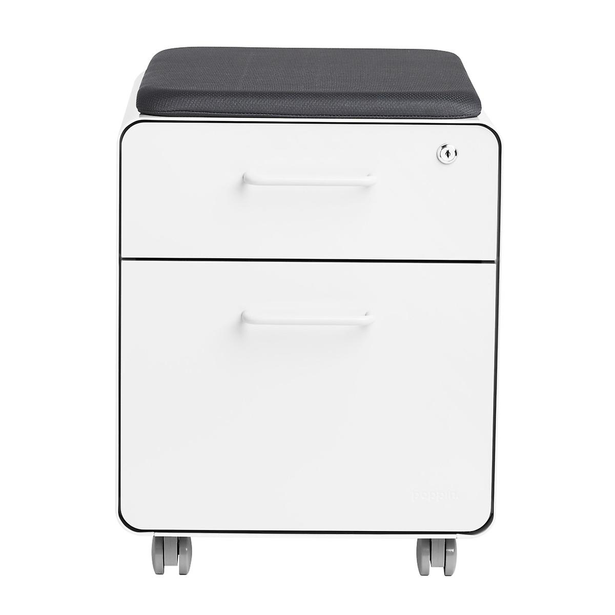 Poppin White Mini 2 Drawer Stow Filing Cabinet With Seat The