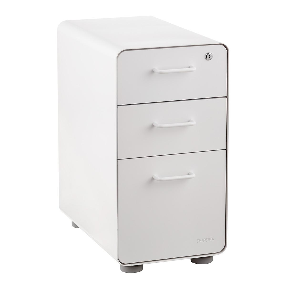d253c35e9b1 Poppin White Slim 3-Drawer Stow Filing Cabinet