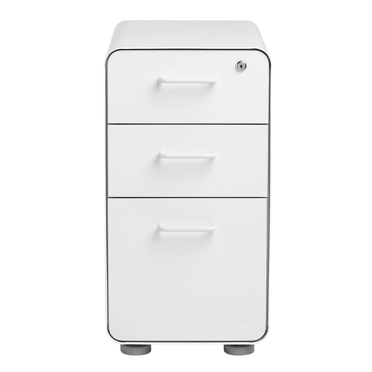 Poppin White Slim 34-Drawer Stow Filing Cabinet