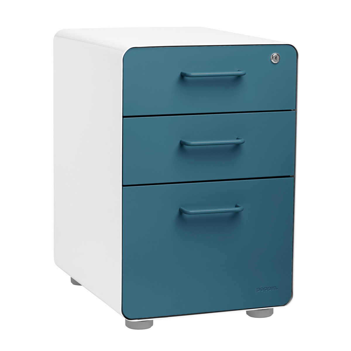 Poppin Slate Blue 3 Drawer Stow Locking Filing Cabinet