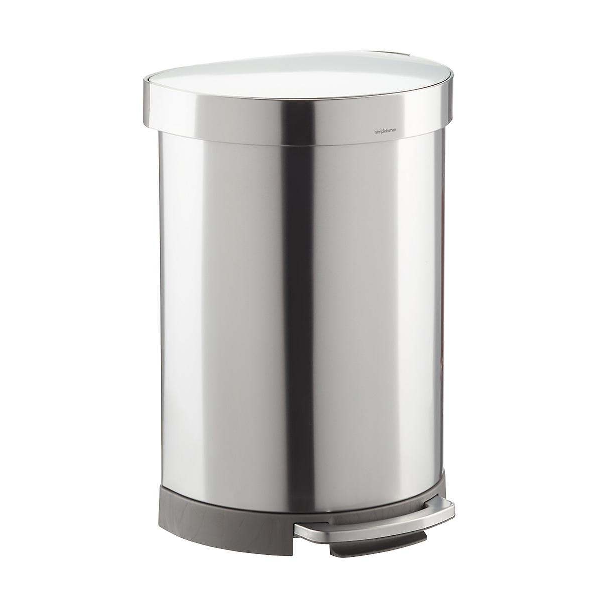 Simplehuman Brushed Stainless Steel 16 Gal 60l Semi Round Can