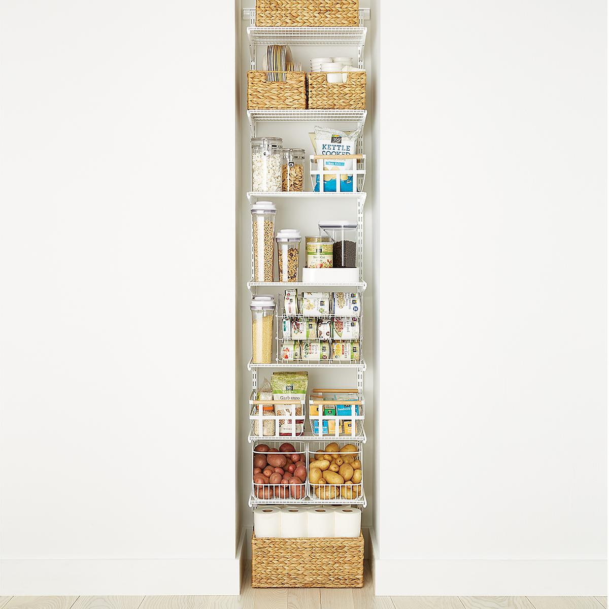 White elfa Reach-In Pantry | The Container Store