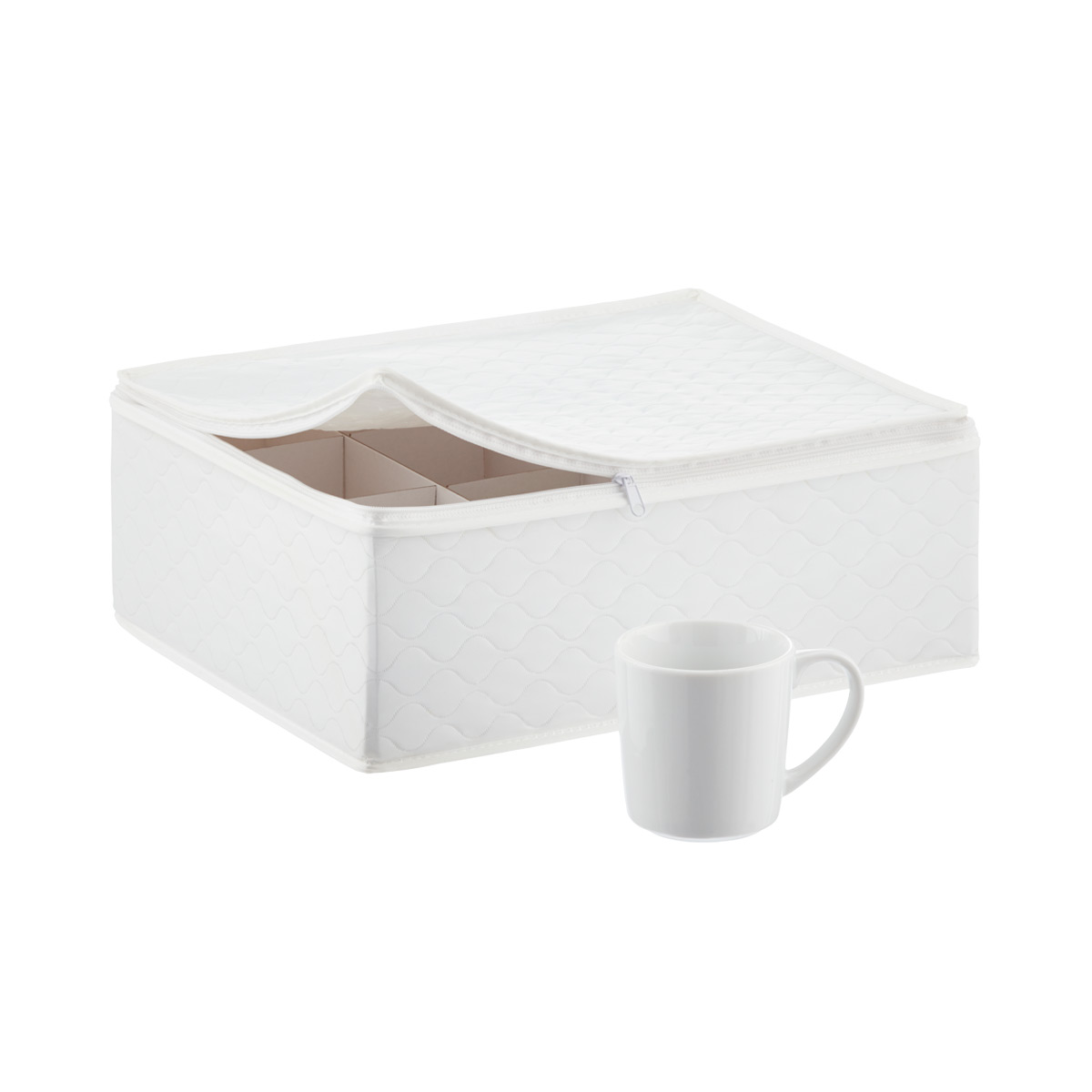 Superieur White Quilted China Storage