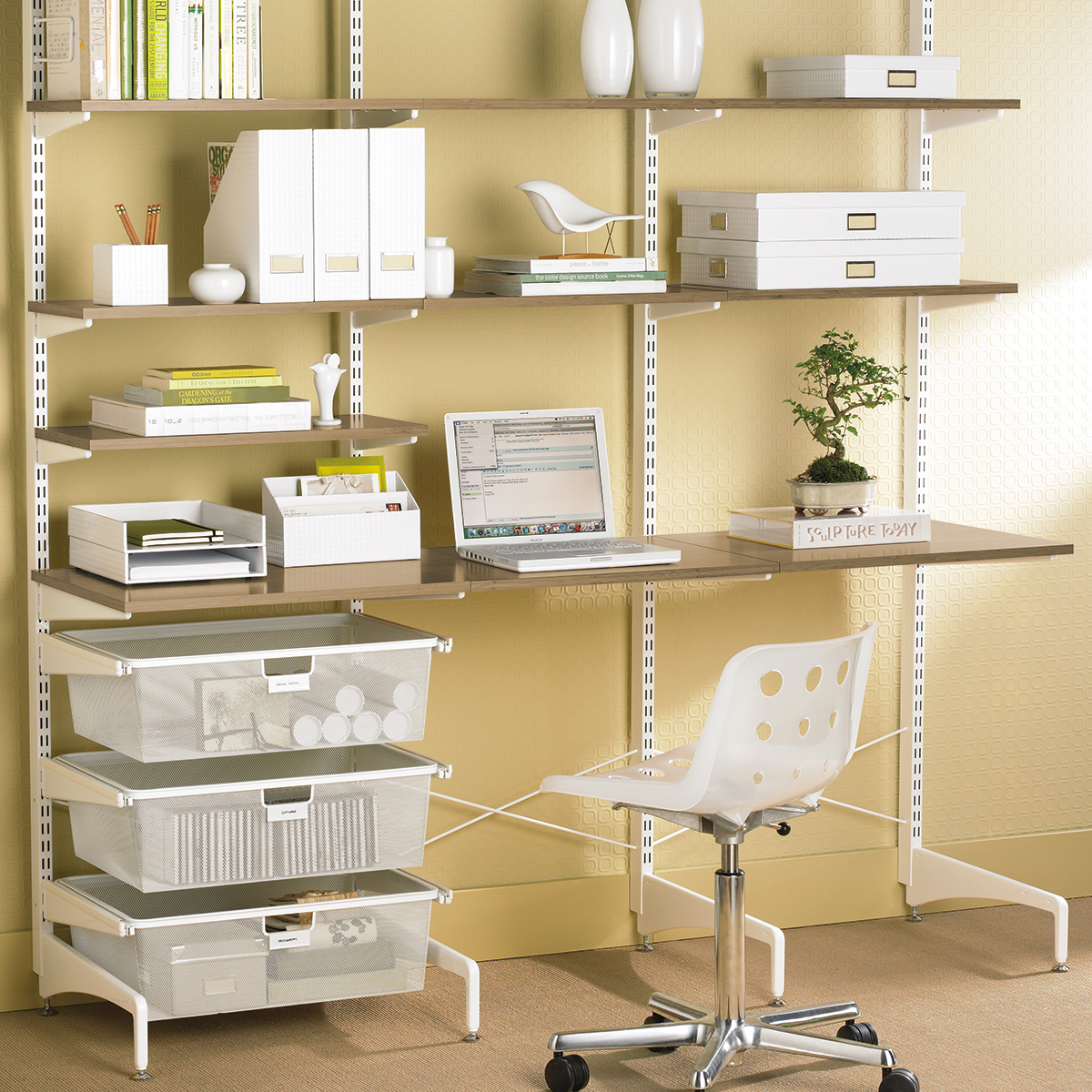 Coffee White Elfa Freestanding Office