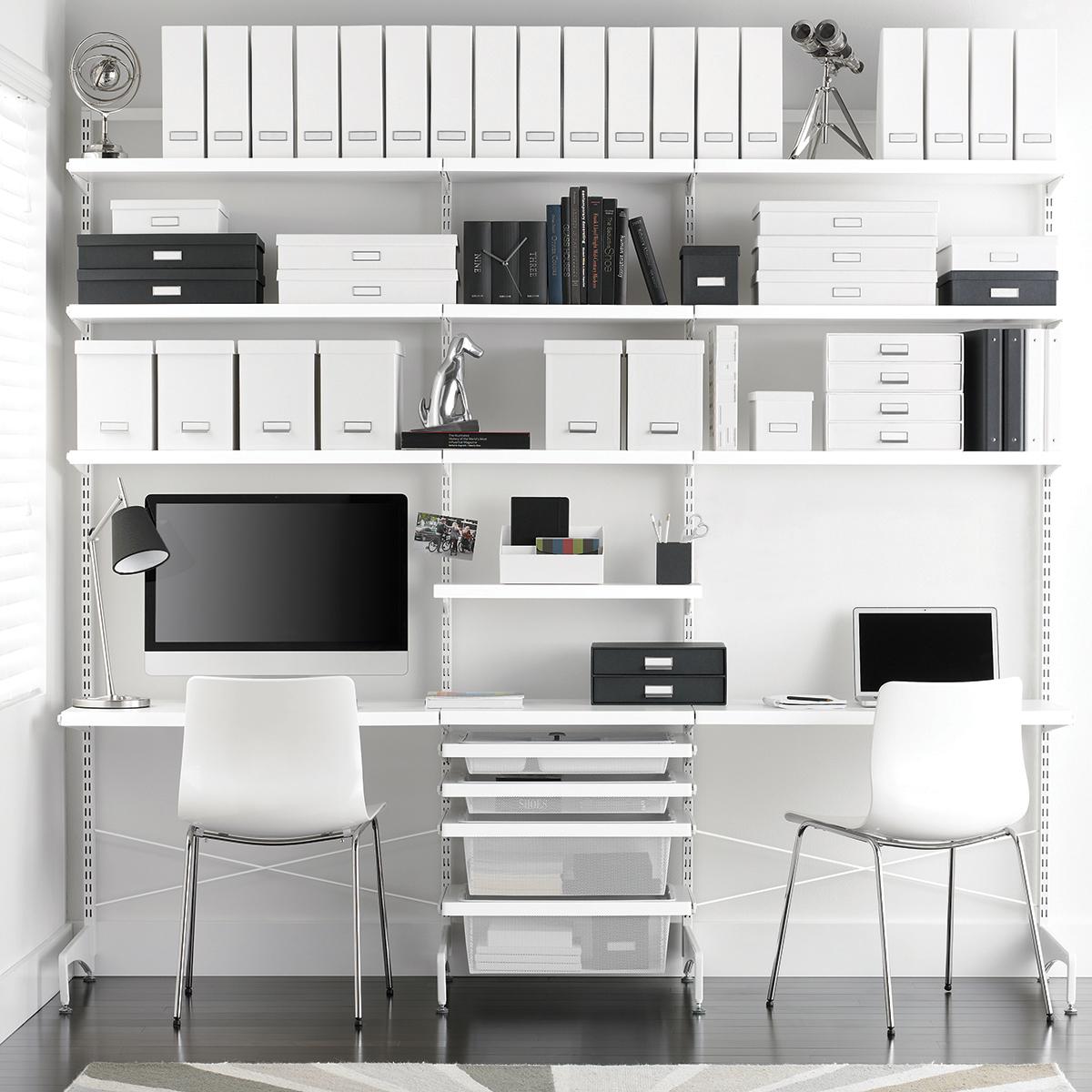 White Elfa Decor Freestanding Office