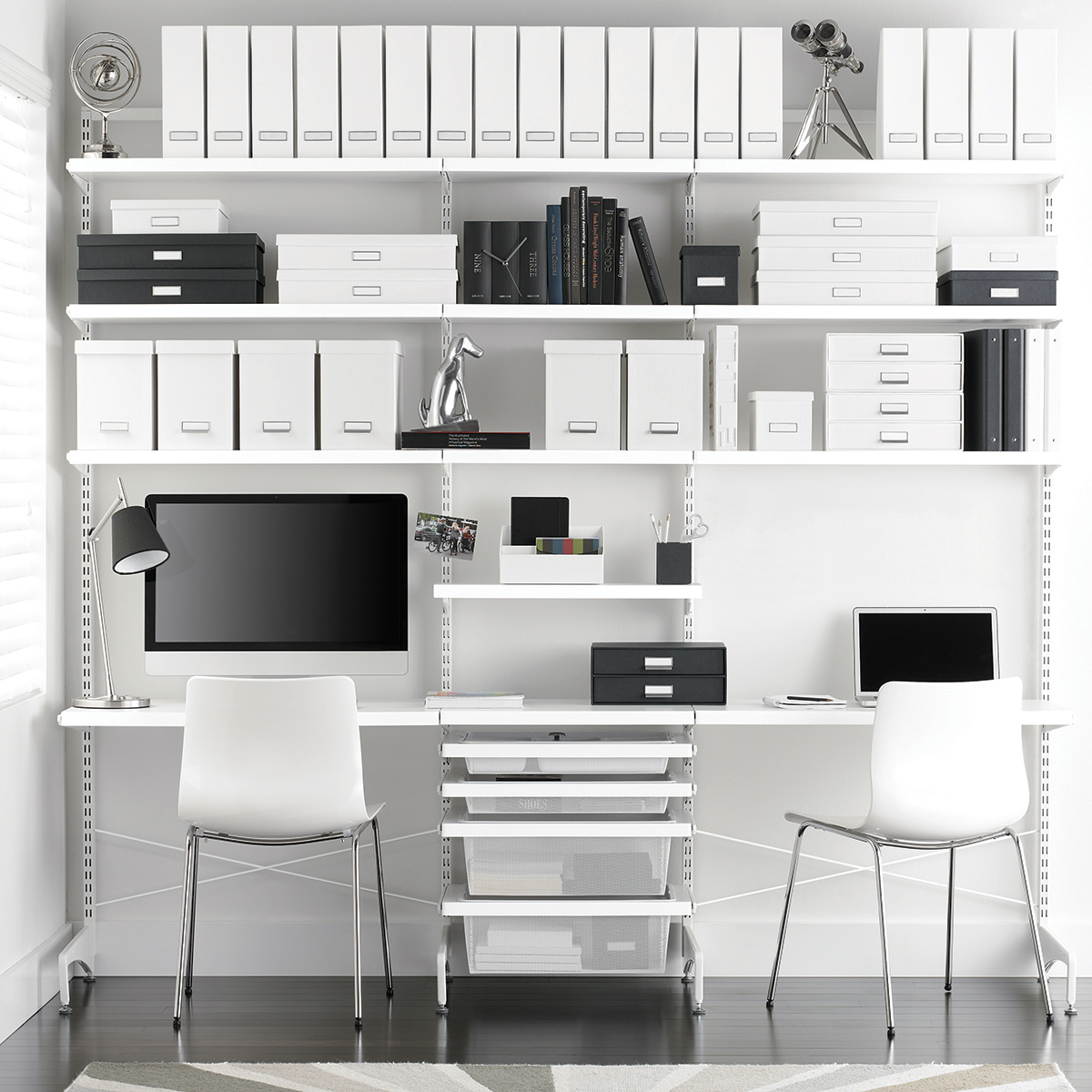 White Elfa Decor Freestanding Office
