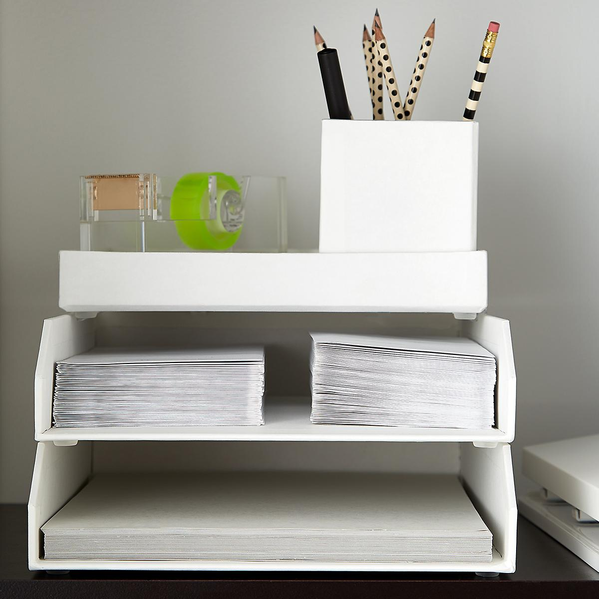 Bigso White Stockholm Stackable Letter Trays Set of 48