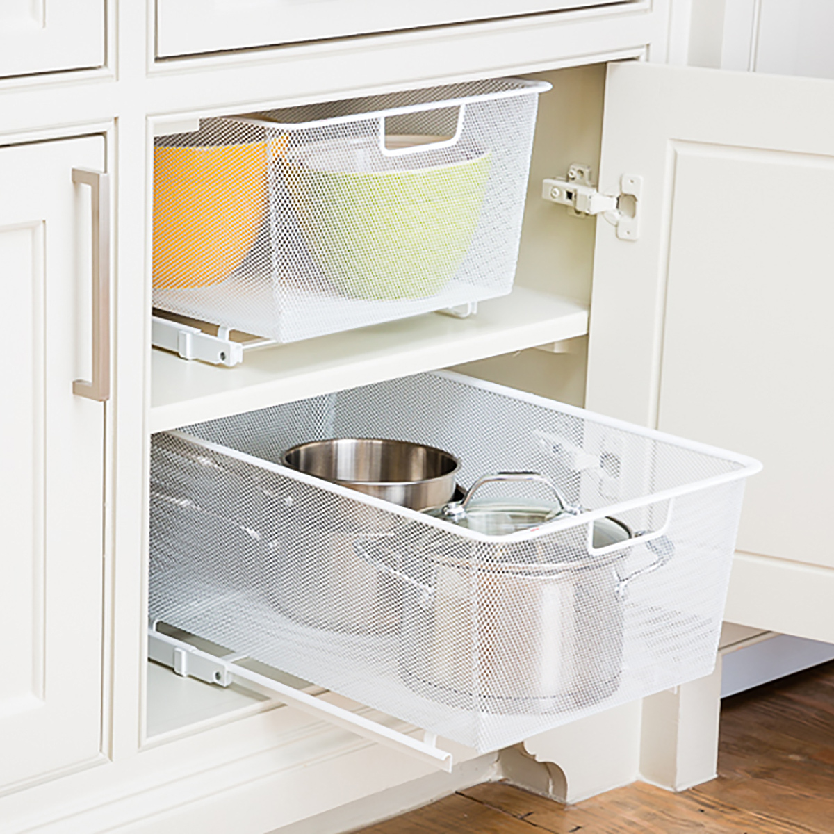 White Cabinet Sized Elfa Mesh Pull Out Cabinet Drawers