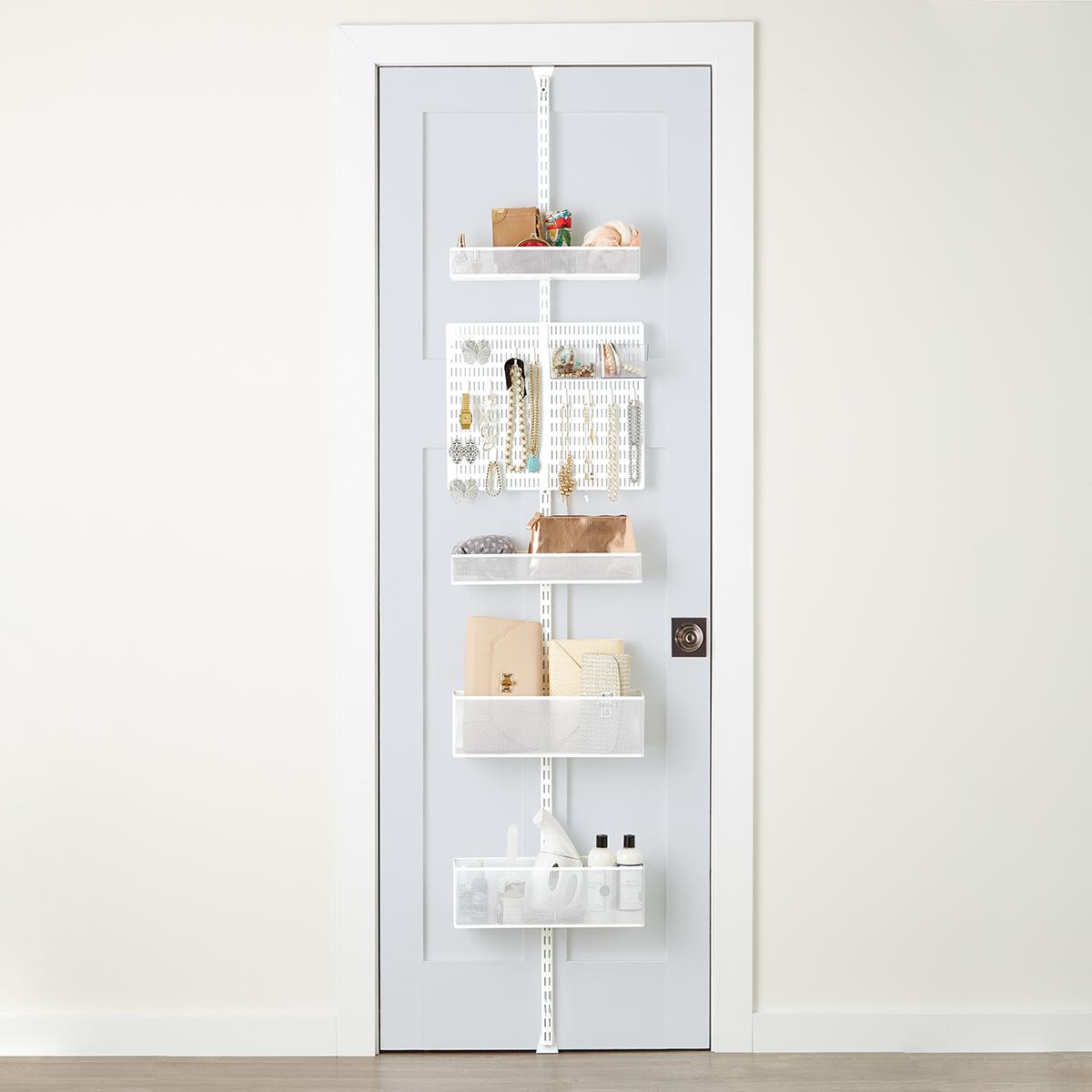 White Elfa Utility Mesh Closet Door U0026 Wall Rack