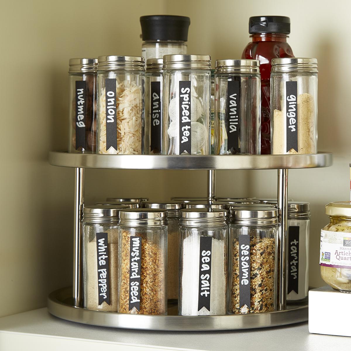 2 Tier Pie Cut Corner Cabinet Storage Organizer Lazy Susan Kitchen Pantry 24 in