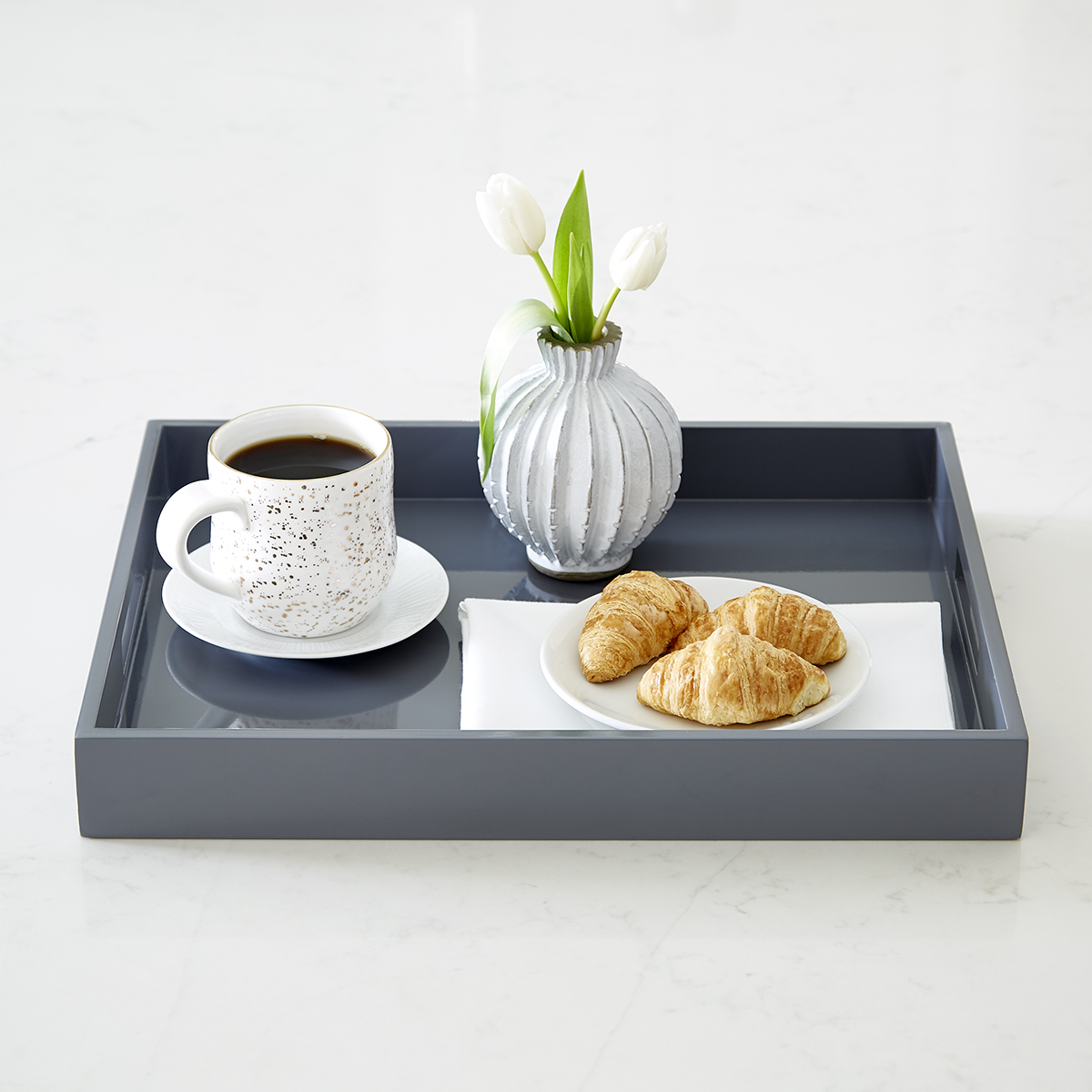 Grey Lacquered Serving Tray With Handles The Container Store