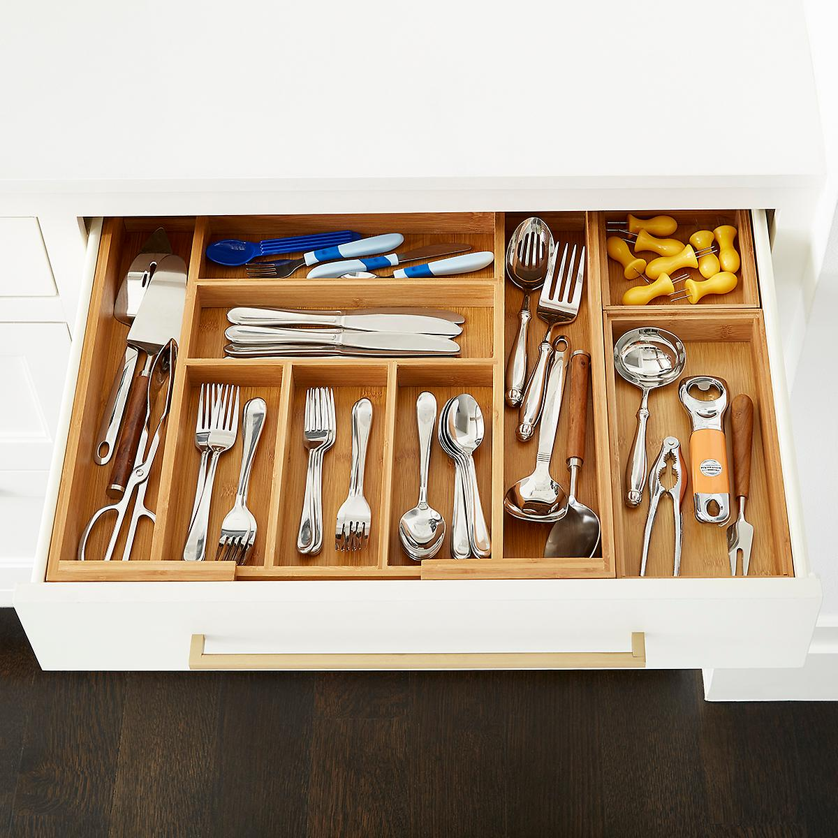 Kitchen Cabinet Drawer Kits: Bamboo Large Drawer Organizer Starter Kit