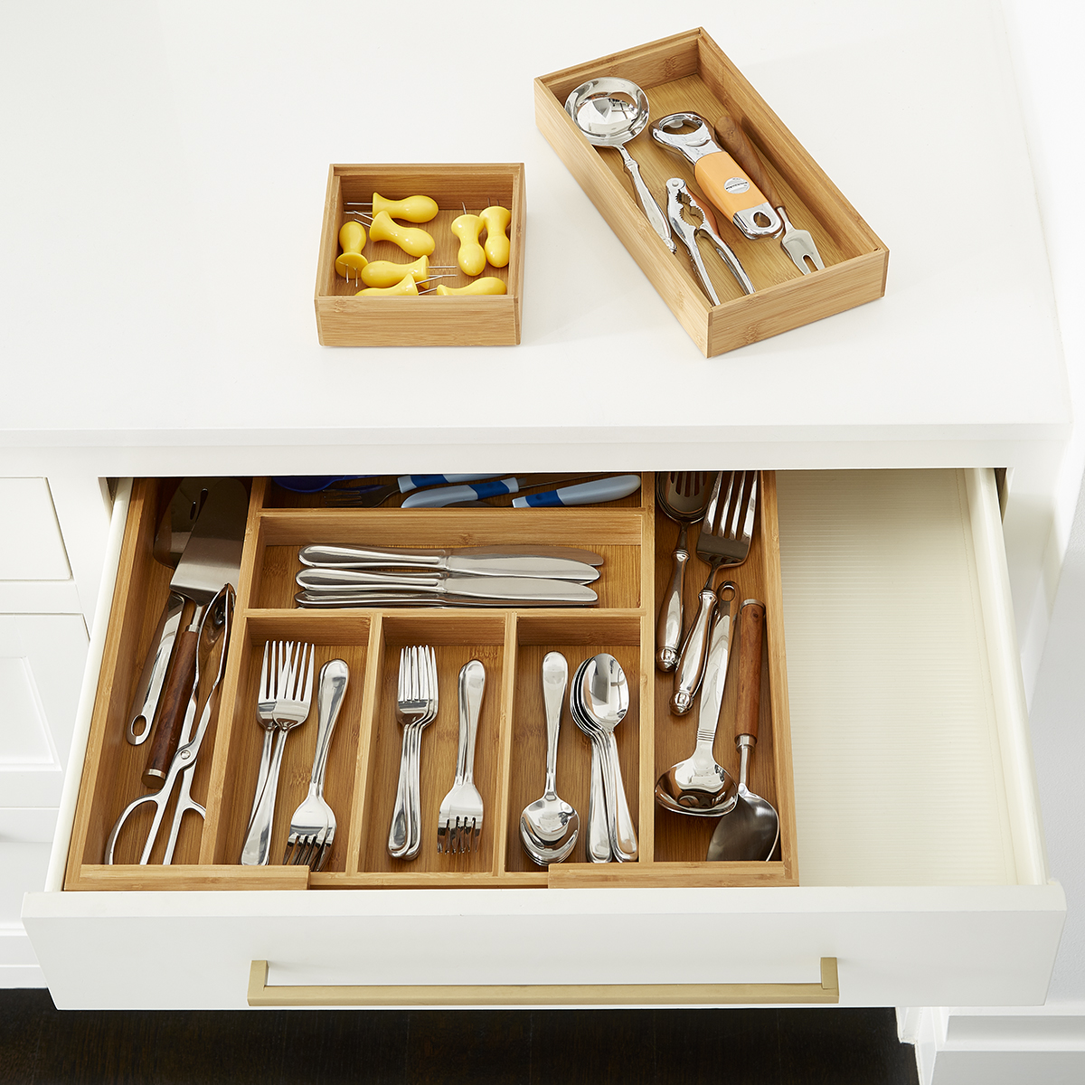 Bamboo Large Drawer Organizer Starter Kit The Container Store