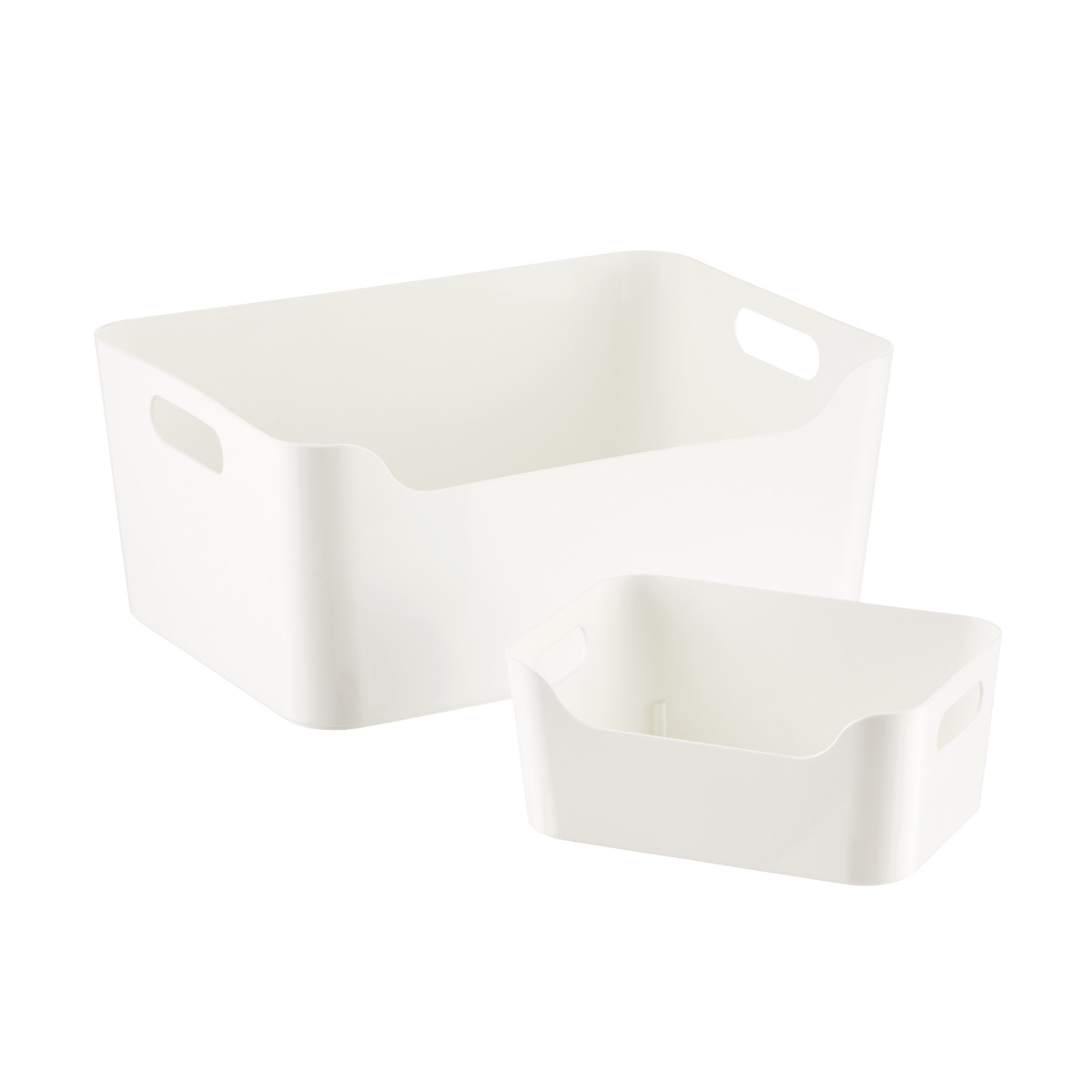 Superbe White Plastic Storage Bins With Handles