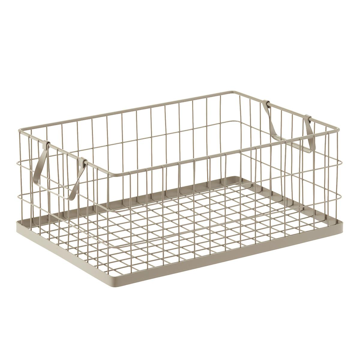 Taupe Stacking Wire Bins | The Container Store