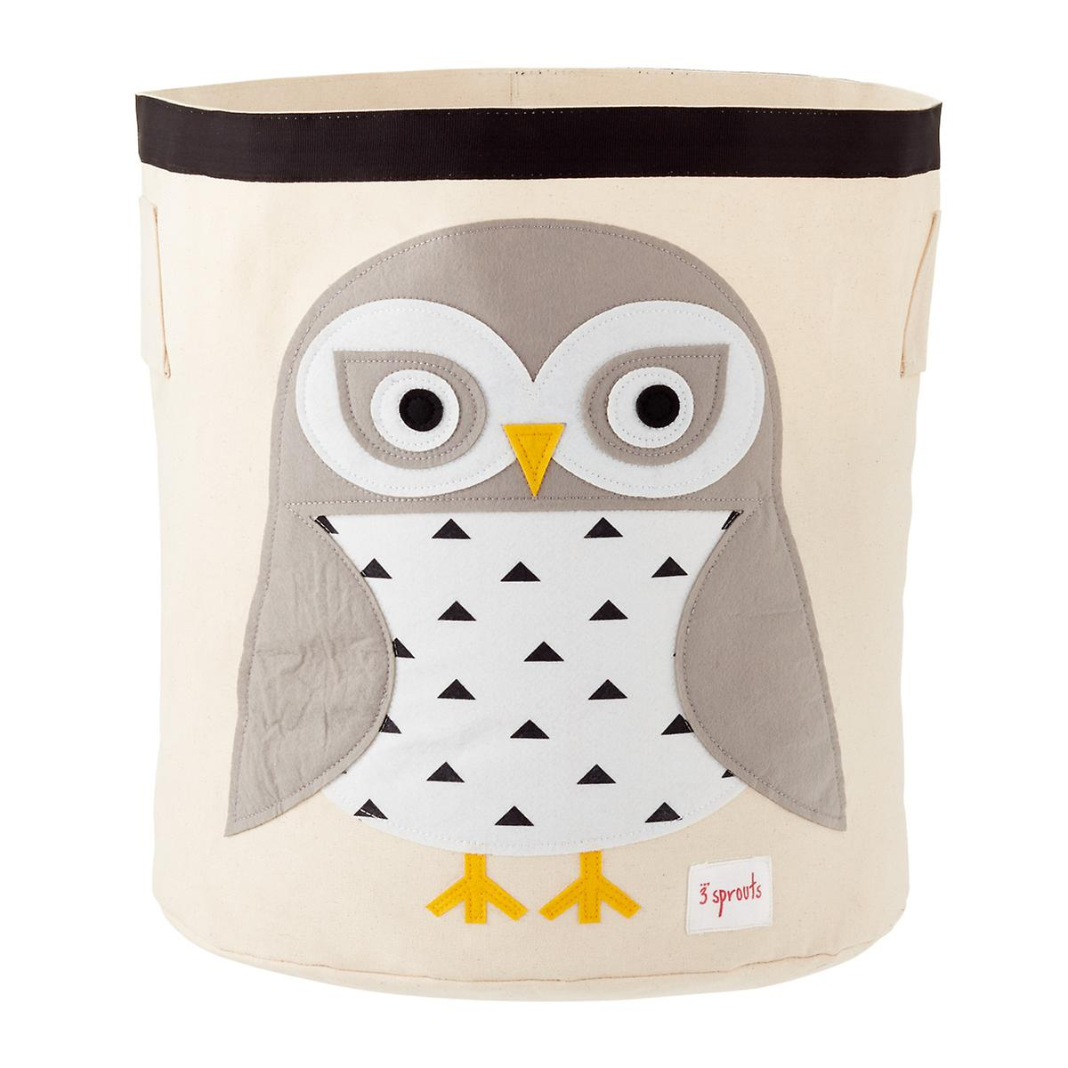 04b6f520d 3 Sprouts Snow Owl Canvas Toy Storage Bin