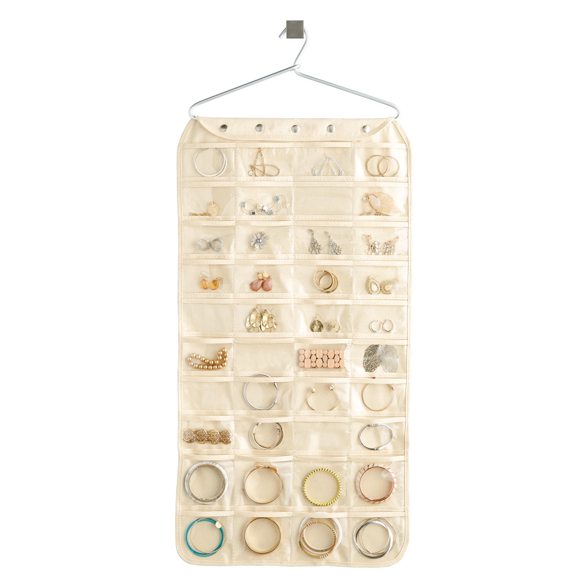 80-Pocket Canvas Hanging Jewelry Organizer  sc 1 st  The Container Store & Hanging Jewelry Holder - 80-Pocket Canvas Hanging Jewelry Organizer ...