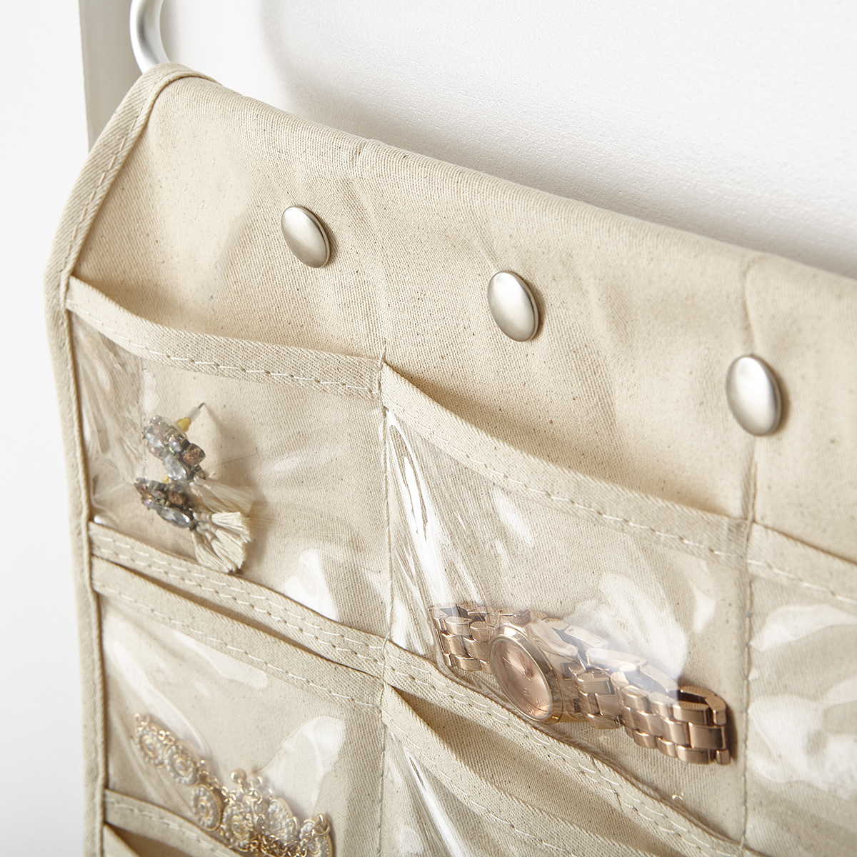 Hanging Jewelry Holder 80 Pocket Canvas Hanging Jewelry Organizer The Container Store
