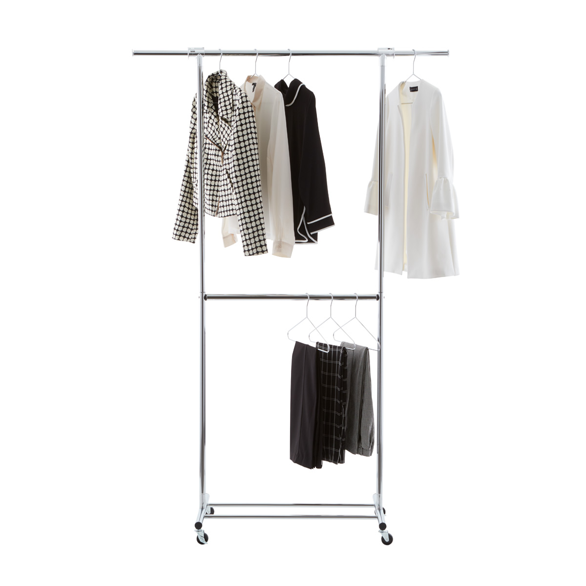 Etonnant Clothes Rack   Chrome Metal Double Hang Clothes Rack | The Container Store