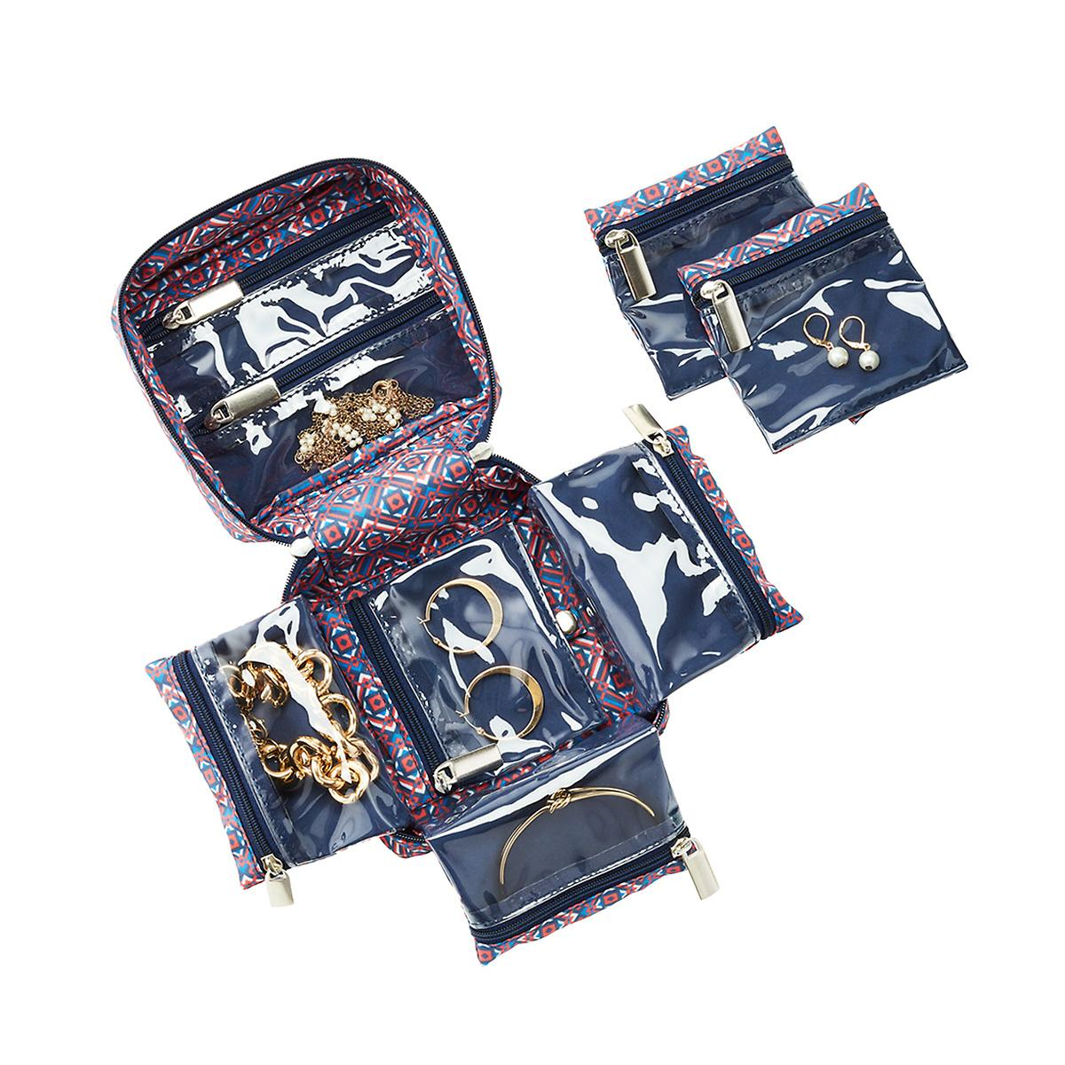 In Bag Blue Tile Travel Jewelry Organizer