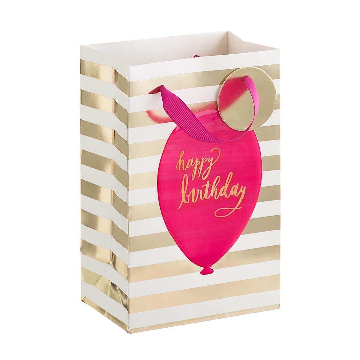 Pink Gold Birthday Balloon Small Gift Bag